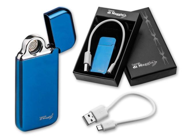 ESCOBAR ,USB aansteker van plastic met 2 plasmabogen en kabel om op te laden in geschenkdoos. Bevat USB kabel/Micro USB