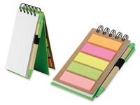 ALF, notitieboekje met sticky notes en balpen