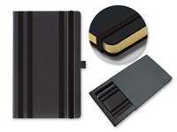 STRIPES CLASSIC ,Notitieblok met elastiek, ingevoegd vakje en lus voor schrijfaccessoires, 240 pagina's, A5-formaat. Pagina's hebben gouden randen.