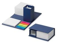 SHENNA ,Zelfklevend notitieblokje met potlood op een vouwende document kubushouder. Bevat wit papier van 7,5x7,5 cm (380 vellen), neonstickers (25 vellen / kleur), 6,8x7,4 cm (50 vellen) wit zelfklevend papier.