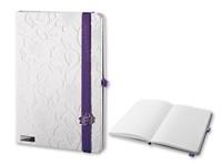 LANYBOOK INNOCENT PASSION WHITE ,Notitieblok met elastische band, kleine knop, ingevoegd vakje en lus voor schrijfaccessoires, 192 gelinieerde pagina's.