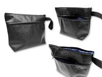 RADHINO ,Ruime ecologische lederen make-uptas met voering. De tas heeft 1 hoofdvak, 1 extra vak en een stoffen riem.