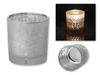 LAWINTER ,Kandelaar van glas met boom en sneeuw motief