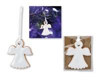 FLYWING ,Kerstdecoratie in keramiek om op te hangen, geleverd in karton en ingepakt in cellofaan.
