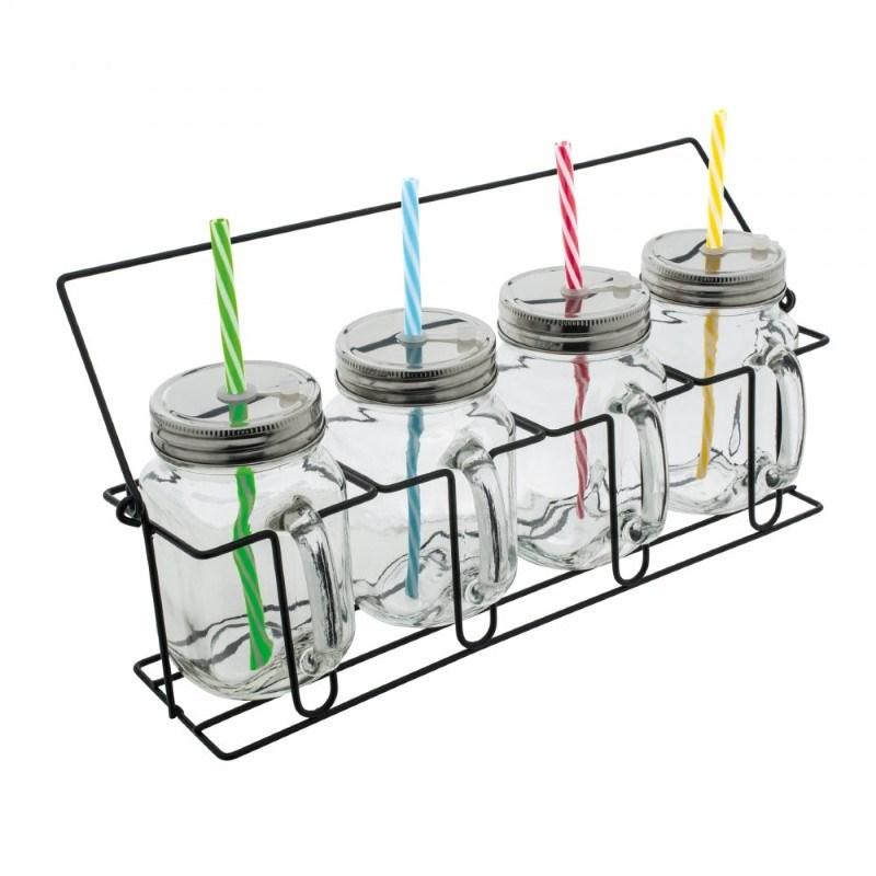 Set van 4 glazen met rietjes RETUMBLER-ARACUJA
