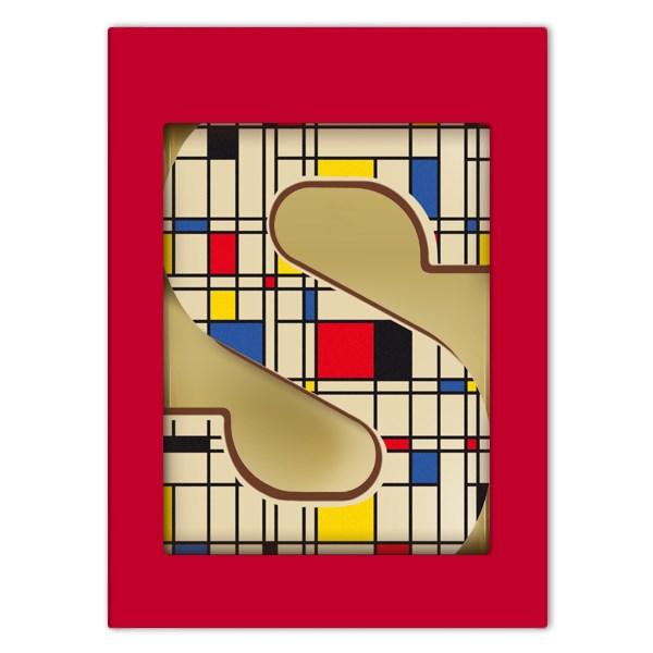Chocoladeletter S met Mondriaan print