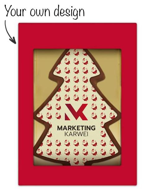 Chocolade Kerstboom met eigen ontwerp opdruk
