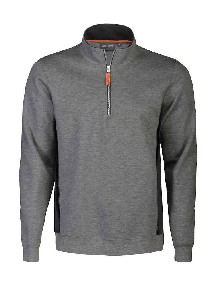 Bill sweat half zip grey melange/black XS