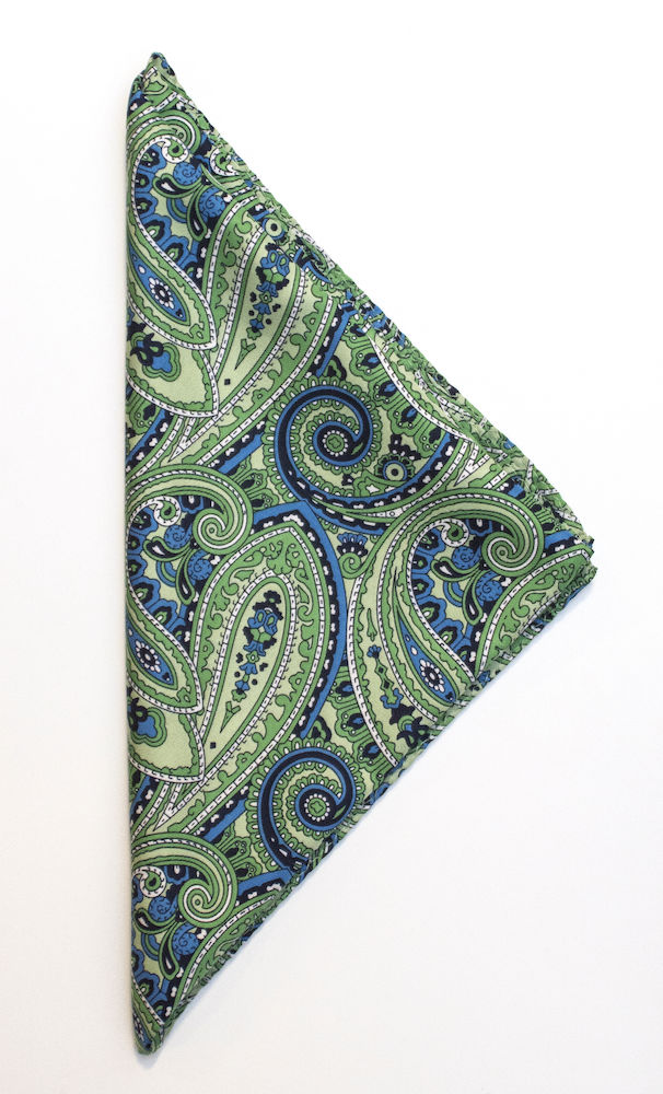 Handkerchief Paisley Green ONE