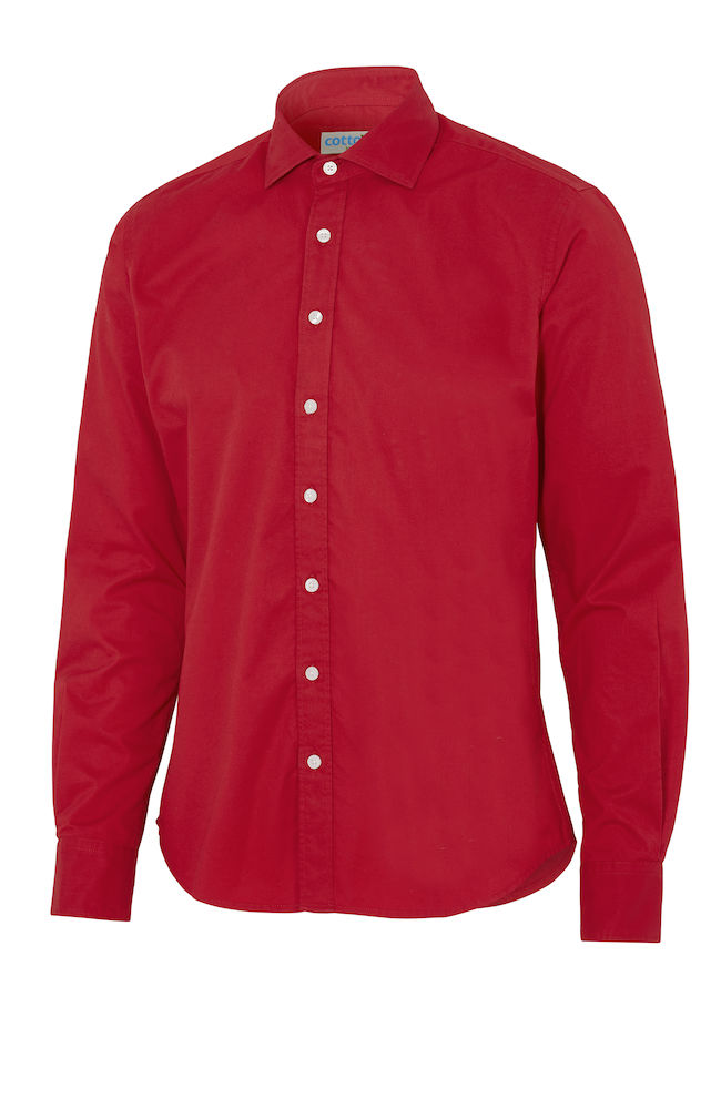 Cottover Twill Slim Fit Man rood M-39/40