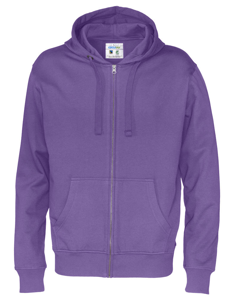 Cottover Full Zip Hood Man paars 3XL