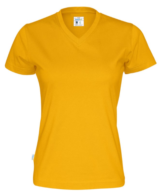 Cottover T-shirt SS V-neck Lady geel M