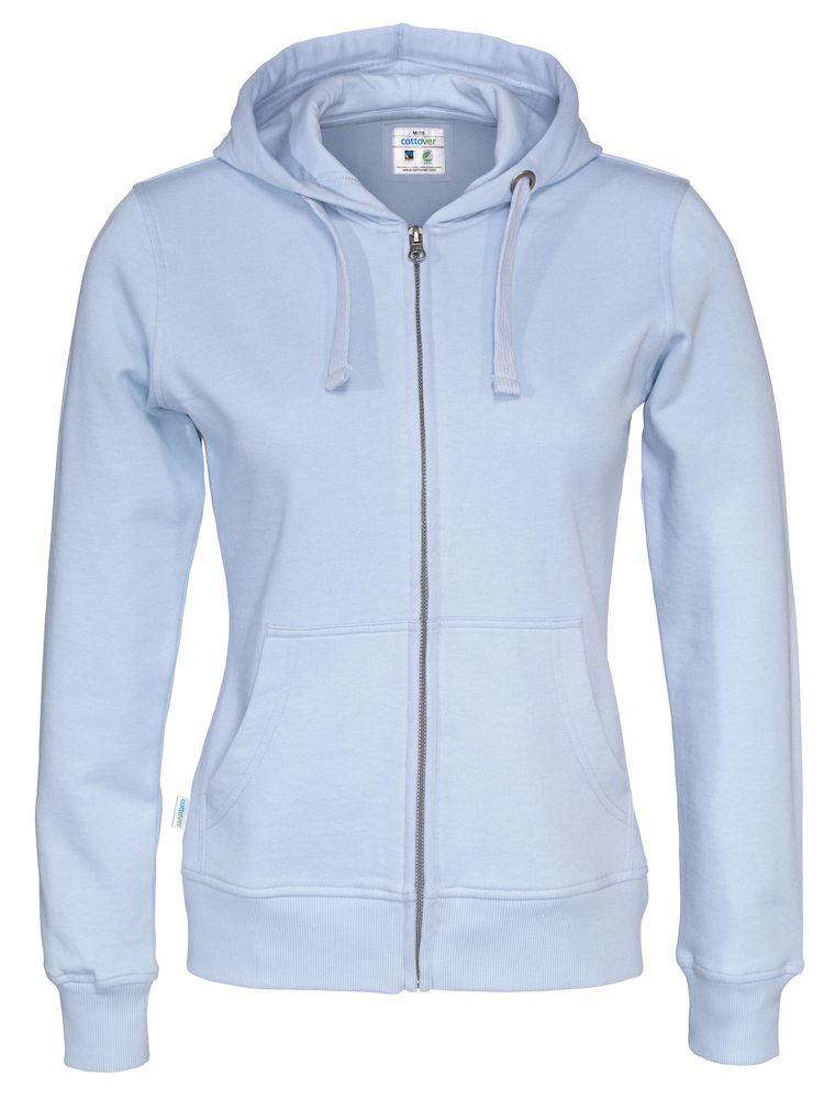 Cottover Full Zip Hood Lady lichtblauw XXL