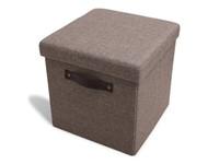 Foldable Storage Pouffe Yarn Light Brown with PU handles