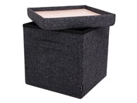Pouffe Dark Grey + handles with Serving Tray