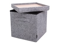 Pouffe Light Grey + handles with Serving Tray