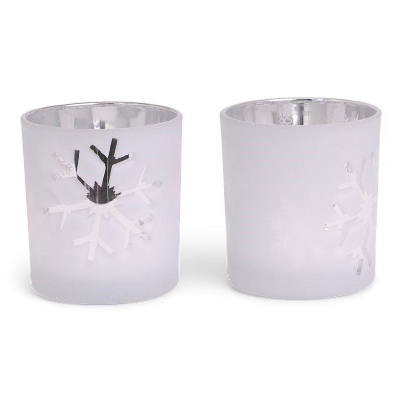 SENZA Glass Candle Holder /2 White-Silver