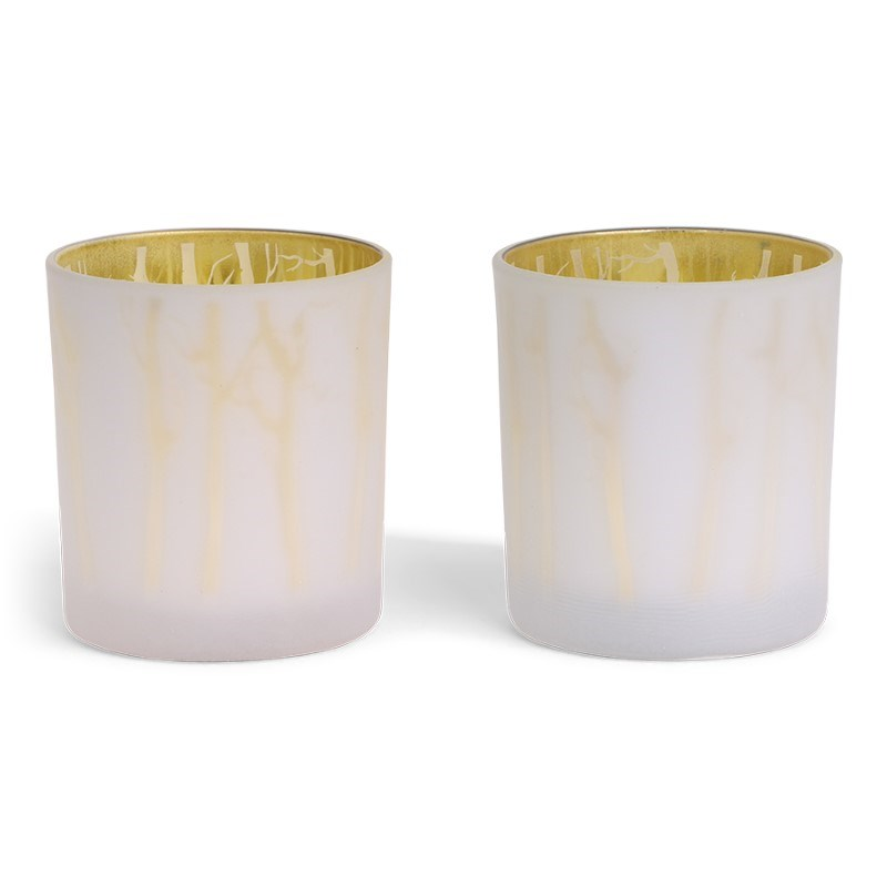 SENZA Glass Candle Holder /2 White-Gold