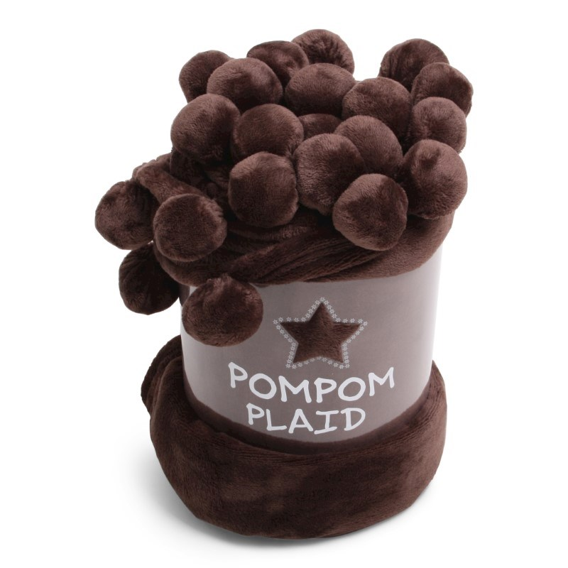 Pom Pom Plaid Solid Brown
