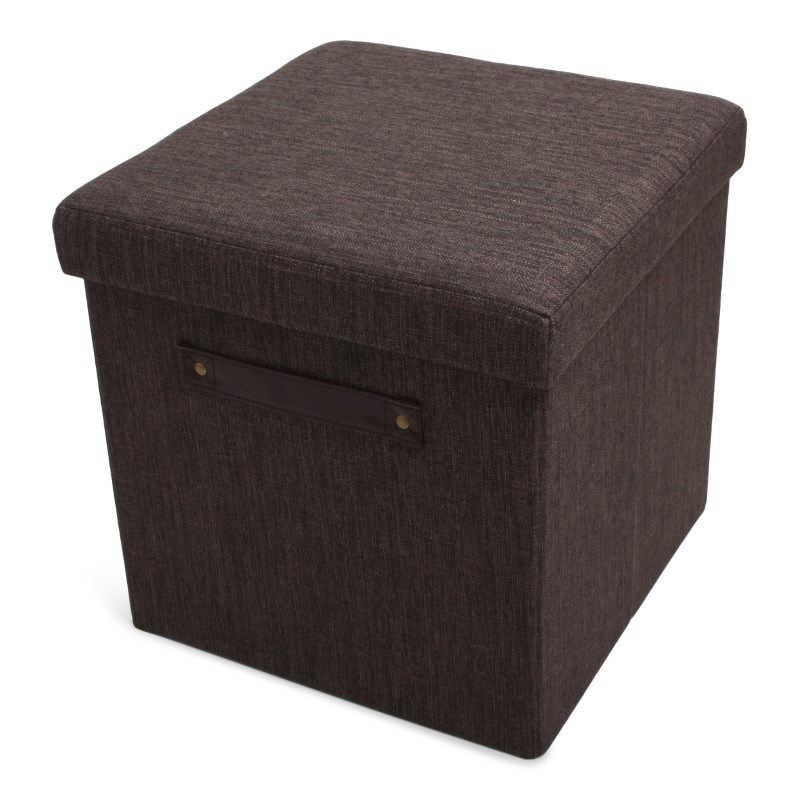 Foldable Storage Pouffe Yarn Brown with PU handles