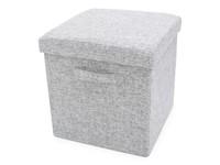 Foldable Storage Pouffe with handles Yarn Grey