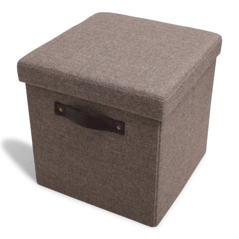 Foldable Storage Pouffe Yarn Light Brown with PU handles