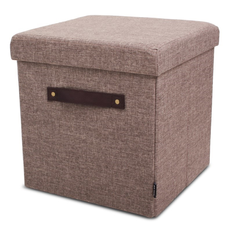 Pouffe Light Brown + PU handles with Serving Tray