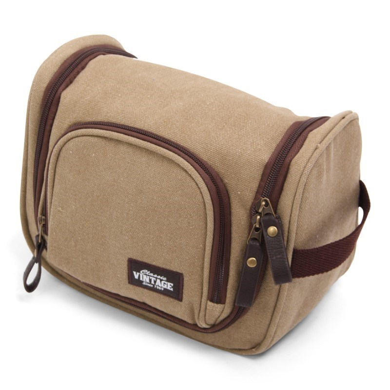 Vintage Canvas Cosmeticbag Deluxe with Hook - Kaki
