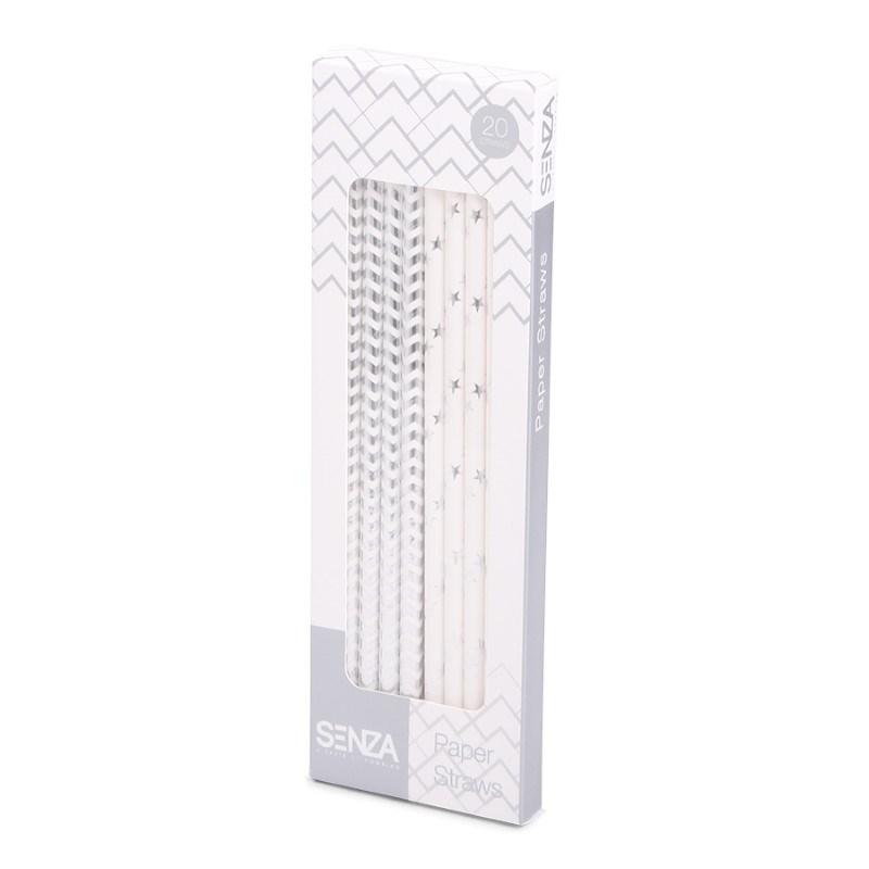 SENZA Paper Straws Silver