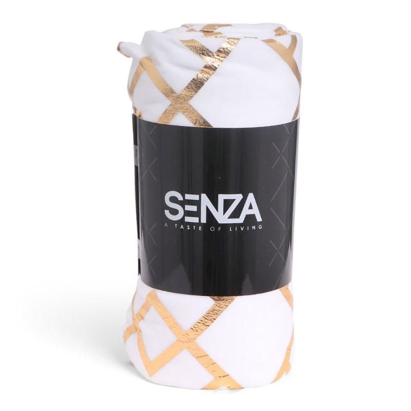 SENZA Pattern Blanket White/Gold
