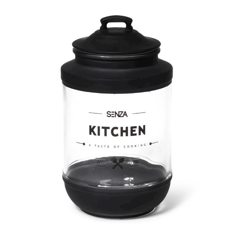 SENZA Glass Storage Jar Black Large