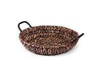 SENZA Hyacinth Shallow Basket with handles Dark brown