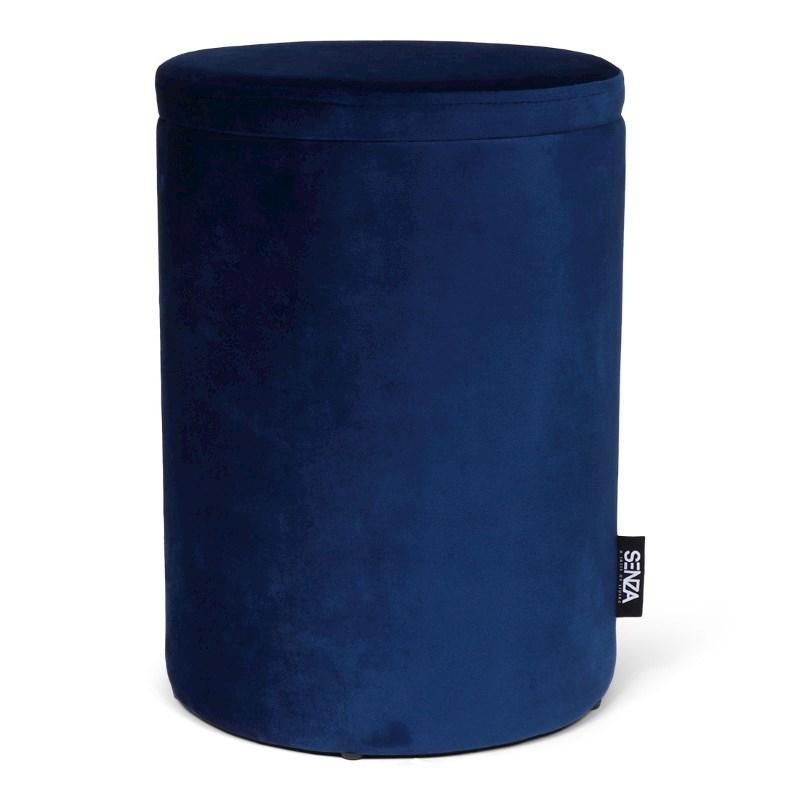 SENZA Velvet Storage Pouffe Dark Blue