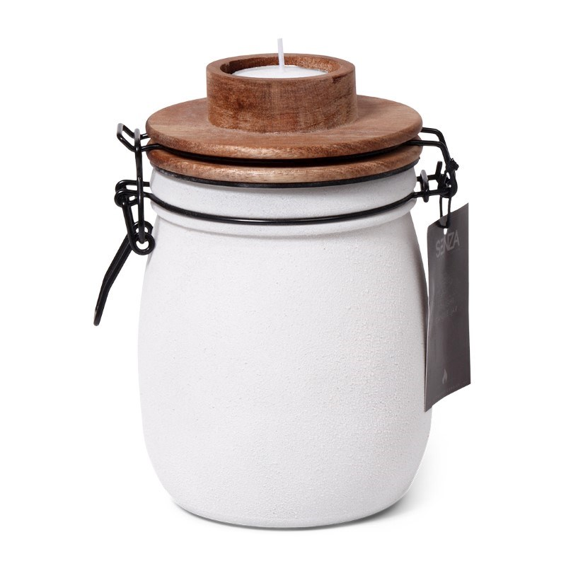 SENZA Candle Light Jar White with wooden lid