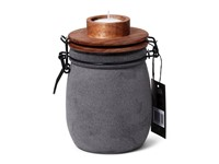 SENZA Candle Light Jar Grey with wooden lid