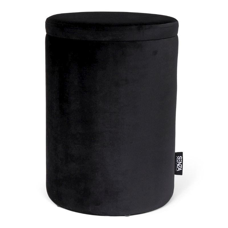 SENZA Velvet Storage Pouffe Black