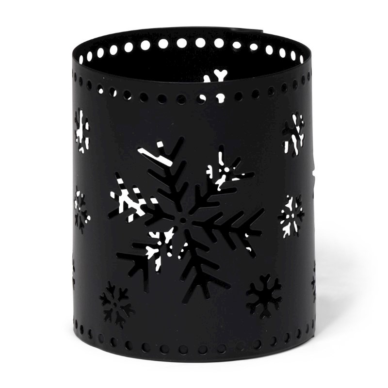 Tealight Holder Snowflake Black