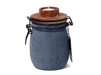 SENZA Candle Light Jar Blue with wooden lid