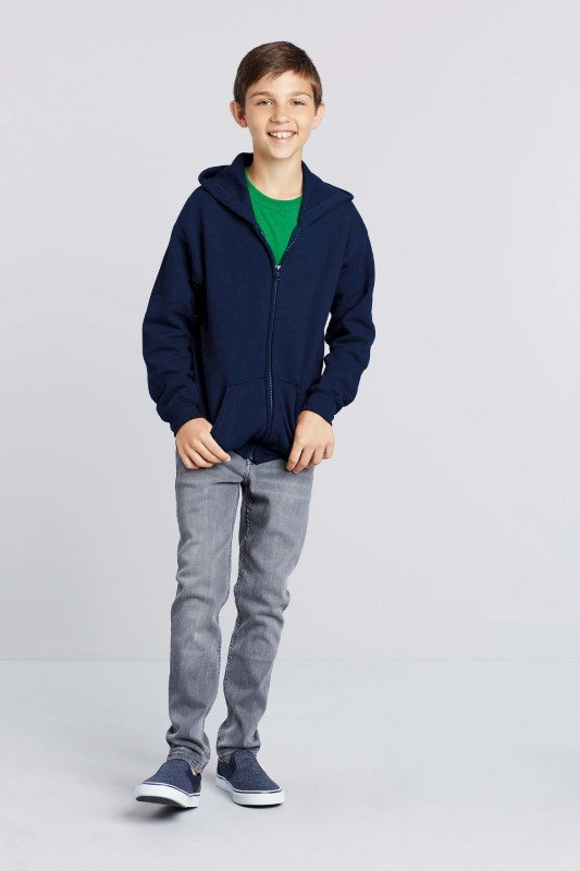 Heavy Blend?classic Fit Youth Full Zip Hooded Sweatshirt