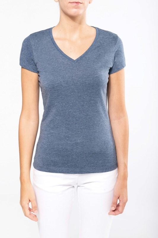 Dames-t-shirt V-hals korte mouwen polykatoen