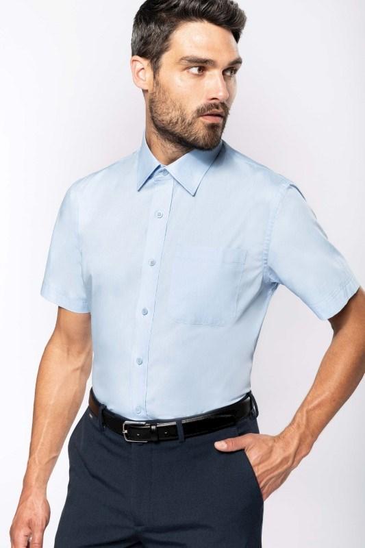 Heren poplin overhemd korte mouwen