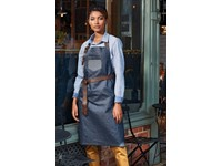Division - Waxed look denim bib apron with faux leather