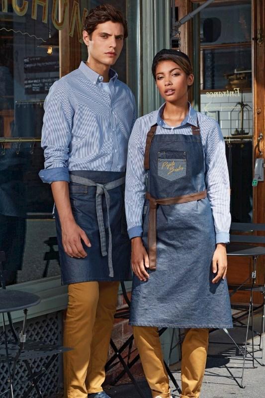 Division - Waxed look denim waist apron