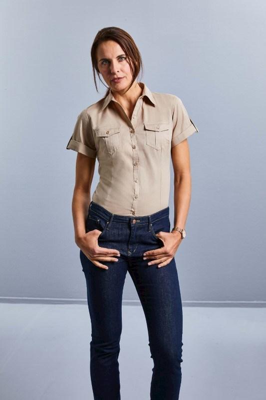 Ladies' Roll Sleeve Shirt - Short Sleeve
