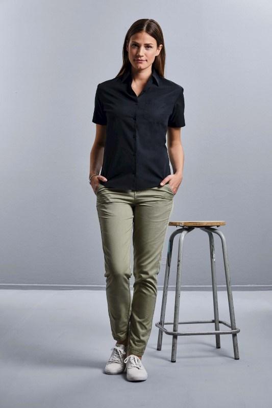 Ladies' Ss Pure Cotton Easy Care Poplin Shirt