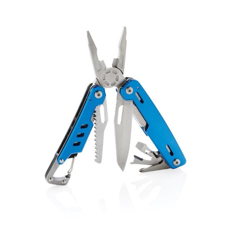 Solid multitool met karabijnhaak, blauw
