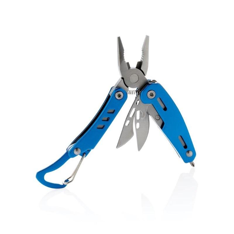 Solid mini multitool met karabijnhaak, blauw