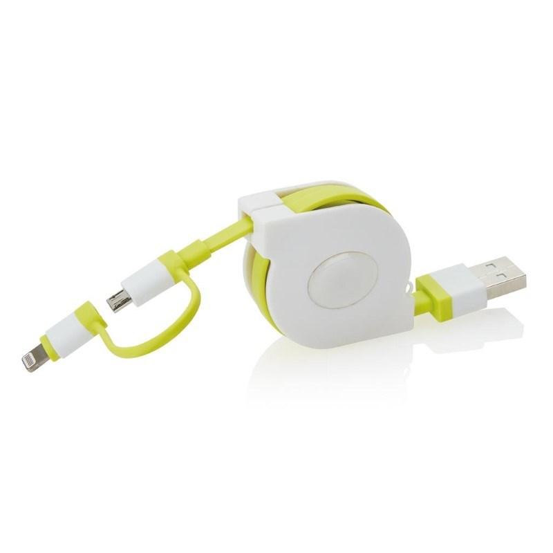 Oprolbare 2-in-1 kabel met MFi licentie, groen