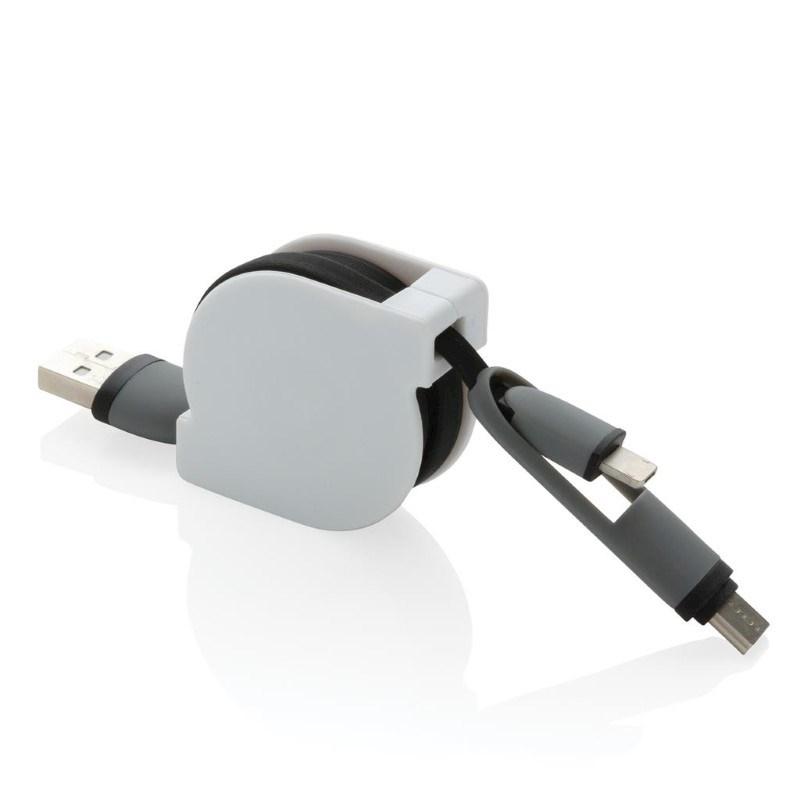 3-in-1 kabel met rolmechanisme, zwart
