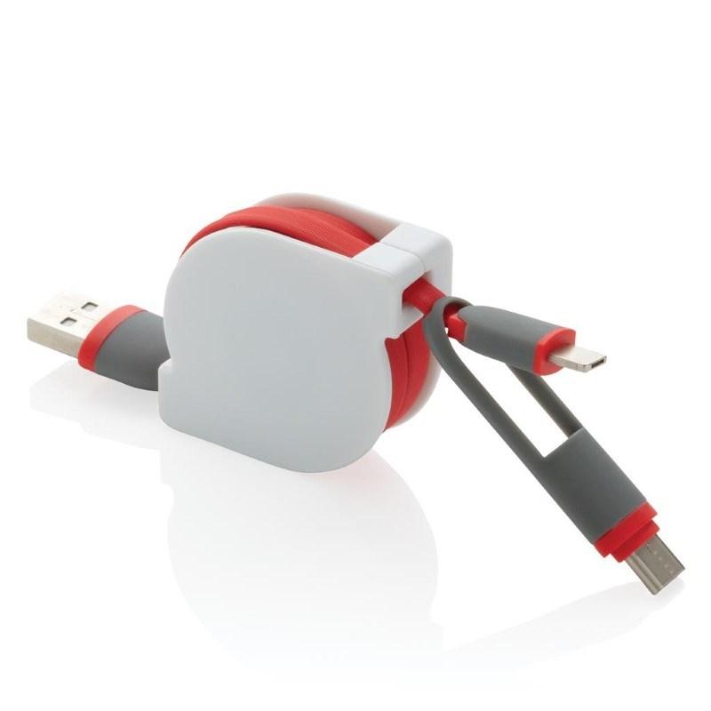 3-in-1 kabel met rolmechanisme, rood
